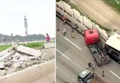 Carreta derruba muro do Jockey e interdita pista da Marginal Pinheiros