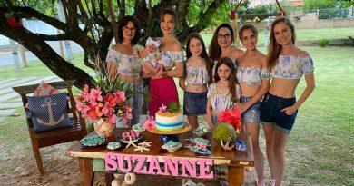 Com o tema praia a modelo Júlia Pereira comemora o segundo mês de vida da filha